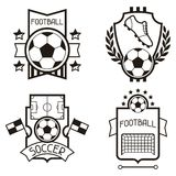 Set of sports labels with soccer football symbols Stock Photos