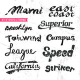 Set of sports letterings Royalty Free Stock Images