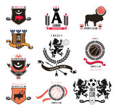 A set of sports logos in the style of heraldry, emblems, design element. Sports logos and signs: Leo, bison, shield. Logos for football, basketball, volleyball Stock Photo