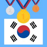 A set of sports medals. Olympic medals. A set of Olympic trophies. Flat design, vector illustration, vector Royalty Free Stock Image