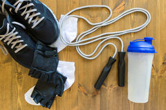 Set for sports men. All that is necessary for the exercise in the gym Stock Photography