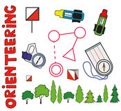 Set of sports orienteering symbols.Flat, Royalty Free Stock Images