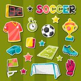 Set of sports soccer sticker symbols and icons. In cartoon style Royalty Free Stock Photography