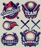 Set sports template with ball and bats for baseball Stock Images