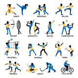 Set Of Sportsmen Silhouettes. Involving in different games and activities isolated vector illustration Stock Photography