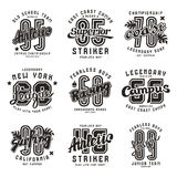 Set sportów emblematy surfuje, ściga się, rugby Obrazy Royalty Free