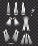Set of spot lights on transparent background Royalty Free Stock Photos