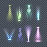 Set of Spotlights Color Rays Vector Illustration. Set of spotlights rays. Vector illustration on transparent background. Yellow, green, blue, violet glowing Royalty Free Stock Photos