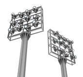 Set of spotlights on metal frames. View from bottom. Royalty Free Stock Image