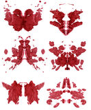 Set of spots of Rorschach. Red colored vector illustration