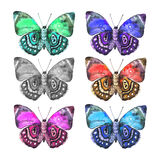 Set of spotted beautiful watercolor butterflies. Vector. stock illustration