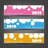 Set of Spotted Horizontal New Year Headers or Banners - 2019 royalty free illustration