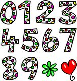 Set of Spotty Doodle Numbers Stock Photos