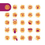 Set of spotty emoji emoticons Royalty Free Stock Images