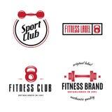 Set sprawność fizyczna emblematy, znaki, etykietki, odznaki, logo i projektujący elementy, ilustracji