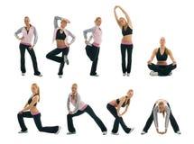 Set sprawności fizycznej ćwiczenia fotografie Obraz Royalty Free
