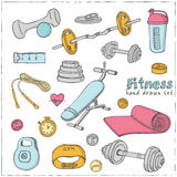 Set sprawności fizycznej bodybuilding dieta i opieka zdrowotna kreślimy ikony Fotografia Stock