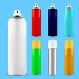 Set of spray cans - opened and with cap Stock Image