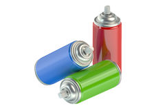 Set of spray paint cans. Spray paint cans on white background Royalty Free Stock Image