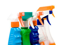 Set of sprays for cleaning. Stock Photo