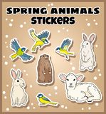 Set of spring animals stickers. Label doodles collection stock illustration