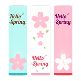 Set of spring banner background with cherry blossom Stock Photo