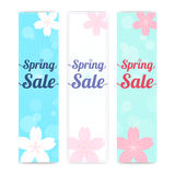 Set of spring banner background with cherry blossom in vertical Royalty Free Stock Images