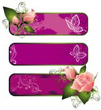 Set of spring banners with roses Royalty Free Stock Image