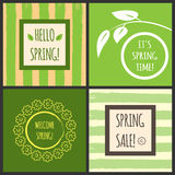 Set of spring banners with text within. Grunge background. Green, yellow, beige, brown, white Stock Photos