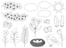Free Set Spring Black And White Coloring Vector Illustration. Flowers Birds Nest Insects Clouds Sun Stock Photography - 213092572