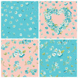 Set of Spring Blossom Flowers Backgrounds vector illustration