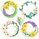 Set of spring cartoon  flowers Royalty Free Stock Image
