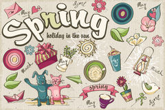 Set of spring colored doodles Stock Photos