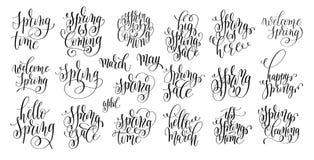 Set of spring coming hand written lettering inscription stock illustration