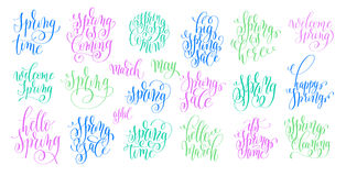 Set of spring coming hand written lettering inscription Royalty Free Stock Image