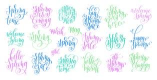 Set of spring coming hand written lettering inscription vector illustration