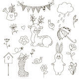 Set spring doodle. Vector illustration. The isolated vector outline on white background. Suitable for punch. Coloring. Drawn by hand Royalty Free Stock Images