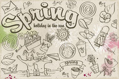 Set of spring doodles on the background with watercolor stains Stock Images