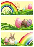 Set of spring easter banners with rabbit and eggs Stock Photo