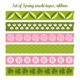 Set of spring easter vintage washi tapes, ribbons, Stock Image