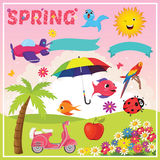 Set of Spring Elements and Illustrations Royalty Free Stock Images