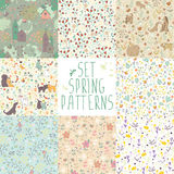 Set of spring floral patterns Stock Photography