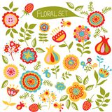 Set of spring flowers. Set of colorful cute flowers. Vector illustration Stock Photography