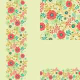 Set of spring flowers seamless pattern and borders Royalty Free Stock Images