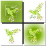 Set of spring green background with leaves Royalty Free Stock Image