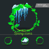 Set of spring icons Cloud, rain, puddles. Drops under the green leaves Royalty Free Stock Photo