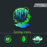 Set of spring icons Cloud, rain, puddles. Drops under the green leaves royalty free illustration