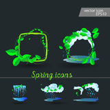 Set of spring icons Cloud, rain, puddles. Drops under the green leaves Royalty Free Stock Photography