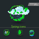 Set of spring icons Cloud, rain, puddles. Drops under the green leaves Stock Image