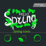 Set of spring icons Cloud, rain, puddles. Drops under the green leaves vector illustration